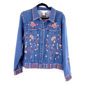Vintage denim jean jacket floral embroidered GW M